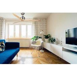 Ventilador de techo, motor DC, aspas de madera maciza 166 cm, para piezas grandes ultra silencioso, Latino de Klassfan