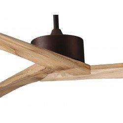Ventilador de techo, rústico de grandes dimensiones 152.4 cm. En marrón con palas de madera. Racine de Klass Fan.