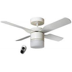 Ventilador de techo, Multimax WE, 132 Cm. moderno, con luz, control remoto, aspas blancas /arce CASAFAN