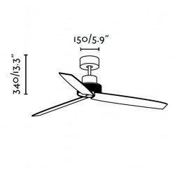 Ventilador de techo de, níquel 132 cm. FARO CORFÚ 33458
