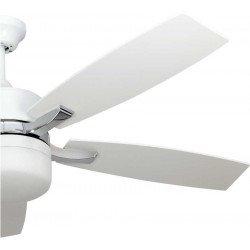 Stella white Ventilador de techo moderno con aspas lancas y cuerpo blanco, punto brillante con control remoto.