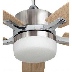 Stella PinoVentilador de techo moderno con aspas de nogal y cuerpo de latón antiguo, punto brillante con control remoto.
