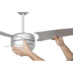 Ventilador de techo, moderno, blanco, de 105 cm. con luz, control remoto IR, FARO EASY 33415