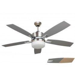 Stella Silver Ventilador de techo moderno, aspas plata/ Pino y cuerpo de cromo niquelado, con luz y control remoto