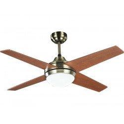 Elysa cerezo, ventilador de techo de 112 cm. Aspas latón y cerezo / nogal, con lámpara y control remoto.