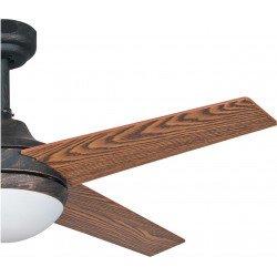 """Ventilador de techo, Elysa Noyer, 112cm, cuerpo marrón """"rústico"""" / aspas cerezo y nogal, con luz, mando a distancia, Lba Home"""