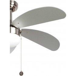 Ventilador de techo de 107 cm con lámpara integrada - LIBE PLATA - aspas plateadas.
