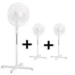 Pack de 3 ventiladores de pie blanco de 40 cm, con oscilación.