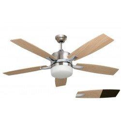 Ventilador de techo moderno blanco y níquel 132 Cm con luz y aspas blancas Mando a distancia reversible