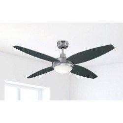Ventilador de techo 132 cm, con lámpara, control remoto, aspas doble cara gris/ grafito