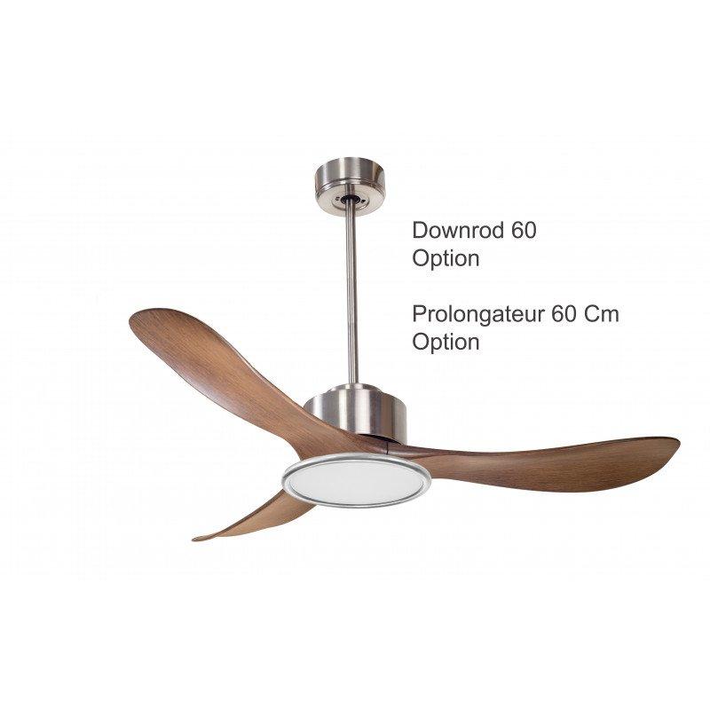 Modulo KlassFan - Super destratificator air, con cromo claro cepillado y madera ideal para 70 a 90 m² KL_DC3_P3Wo_L2Ch