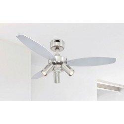 Ventilador de techo 105 cm, con lámpara, control remoto, aspas doble cara wengue/plata.