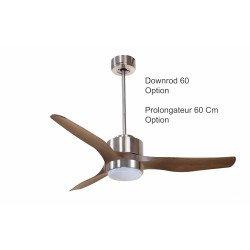 Modulo KlassFan - Super destratificador de aire, con luz, cromo y madera para 70 a 90 m² ultra eficiente KL_ DC3_P4Wo_L1Ch