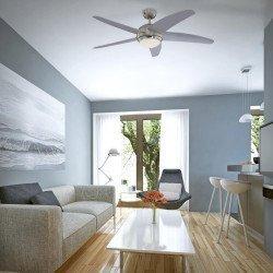Ventilador de techo, moderno, silencioso, 132 cm. con lámpara, aspas grises, control remoto.