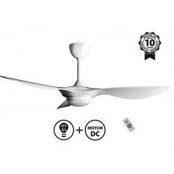 Helix II de KlassFan, ventilador de techo con diseño de CC, compacto, ultra potente, LED de 3 tonos, termostato