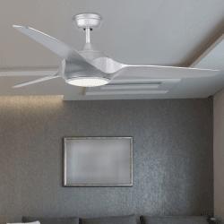 Ventilador de techo DC Design 132 cm gris plata con control remoto de lámpara LED
