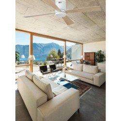 Ventilador de techo moderno, 132 cm. con lámpara de LED. blanco, mando a distancia IR, FARO TIMOR 33372
