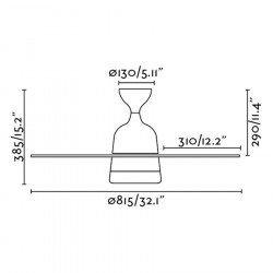 Ventilador de techo de 90 cm con lámpara integrada - MEDITERANEO-aspas caoba, cuerpo nickel mat
