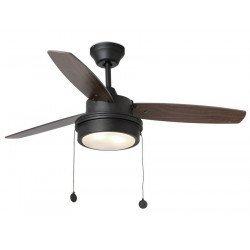 Ventilador de techo de 106 cm con lámpara integrada Komodo- aspas negro y nogal y medias de cuerpo gris nogal
