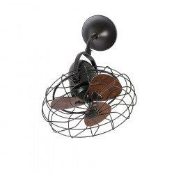 Ventilador de techo/pared, Keiki, marrón oscuro/madera, estilo industrial/retro, Faro.
