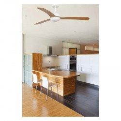 Ventilador de techo, Grid, DC, 132cm, cuerpo blanco/palas de madera, Faro.