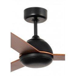 Ventilador de techo, Rejilla, DC, 132cm, cuerpo negro/aspas de madera, Faro.