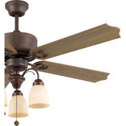 Ventilador de techo, 120 cm, Plymooth, marrón/roble, estilo clásico, con luz, Lba Home.