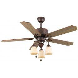 Ventilador de techo de 120 cm, 3 lámparas potentes, aspas bronce envejecido roble.