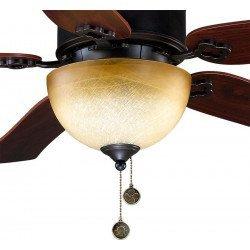 Ventilador de techo de 120 cm, aspas de textura negra y bronce envejecido y cerezo