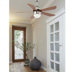 Ventilador de techo clásico acabado en níquel mate de 107 cm de diámetro con luz.FARO VENETO 33319