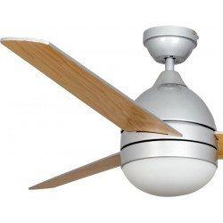 Ventilador de techo, Toburco, 122 cm, plata/haya , con lámpara, moderno, Lba Home.
