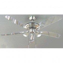 Ventilador de techo moderno, 132 cm, cromo, láminas translúcidas, 3 lámparas