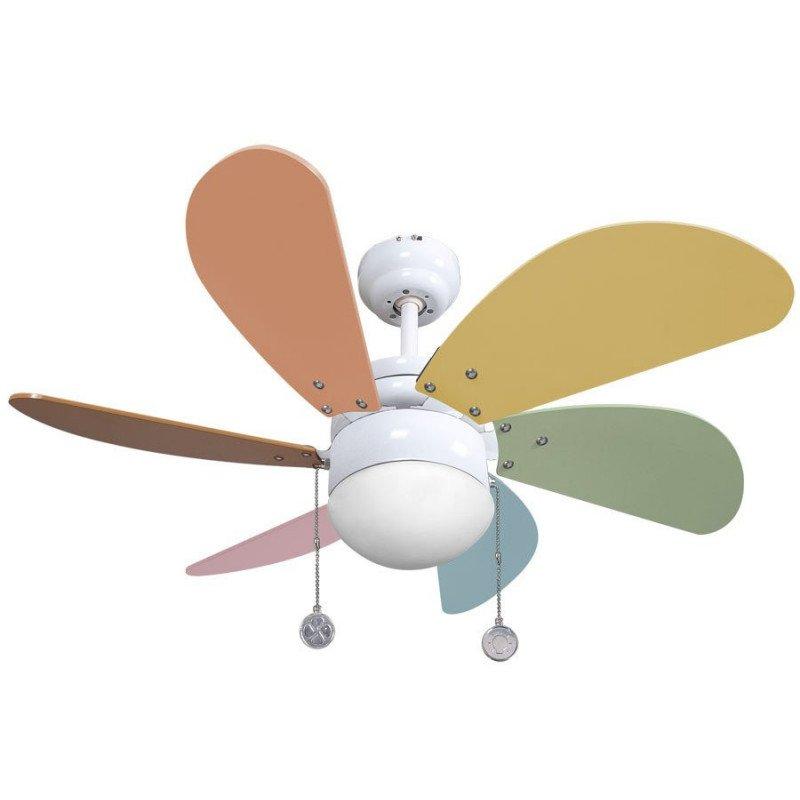 Ventilador de techo de 65 cm, con luz, aspas multicolor, para niños.