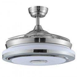 Ventilador de techo, Shadow Sound, DC, 107cm, palas niqueladas/transparentes, con luz, + altavoz, Lba Home.