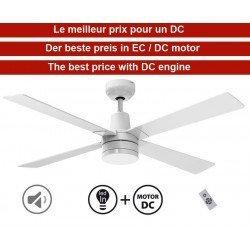 Electra de KlassFan un silencioso ventilador de techo DC de 122 cm, equipado con control remoto y luminaria LED