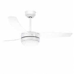 Ventilador de techo, Easy white, 107cm, moderno, blanco, con luz, control remoto, Lba Home.