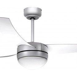 Ventilador de techo, Facile Silver, 107cm, moderno, plata, con luz, control remoto, Lba Home.
