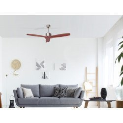 Purline de Klassfan, Hegoa, un moderno ventilador de techo con aspas de madera maciza de 132 cm, motor de cobre envejecido