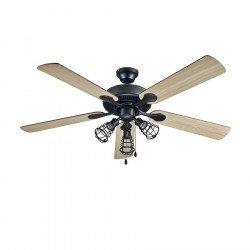 Ventilador de techo, Chanterelle, 132 cm, gris oscuro/negro/haya, con luz, Lba Home.