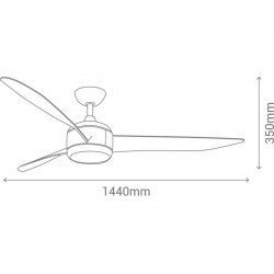Ventilador de techo DC design 142 cm punto de luz de acero cepillado control remoto reversible led, Koala LBA HOME.