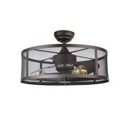 CAGE- Ventilador de techo 61 cm con luz. Jaula de seguridad. Mando a distancia. Reversible. Temporizador. Un ventilador seguro.