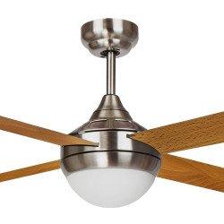 Ventilador de techo, EFFY CHR Arce, 122 cm, moderno, acero cromado/palas grises o marrón claro, con luz, Lba Home
