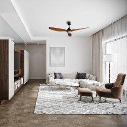 Ventilador de techo, Flat Wood Wing, 132cm, DC, con luz, gris basalto/pino, silencioso, Lba Home.