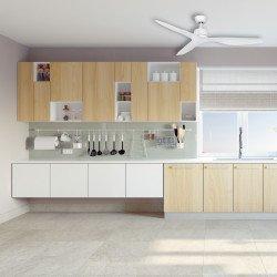 Ventilador de techo, Flat White, 132cm, blanco, DC, hiper silencioso, potente, con termostato,Klassfan