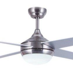 Ventilador de techo, EFFY CHR LED, 122 cm, acero cromado/palas gris o marrón claro, con 3 colores de luz , Lba Home