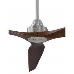 Ventilador de techo, Soft 70, 178cm, cromo/nuez oscuro , DC, hiper silencioso, + poste de 60cm,Klassfan.