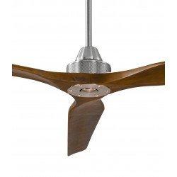 Ventilador de techo, Soft 70, 178cm, cromo/nuez claro, DC, hiper silencioso, + poste de 60cm, Klassfan.